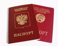 Russian and old soviet international passports. Two passports old soviet and new Russian Royalty Free Stock Photos