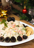 Russian Olivier salad on New Year Eve Royalty Free Stock Images