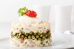 Russian Olivier Salad With Red Caviar On Top Stock Image