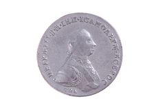 Russian one rouble coin of 18 century with Petr III portrait on Royalty Free Stock Photo