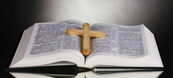 Russian open holy bible Stock Photo