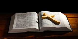 Russian open holy bible Stock Images