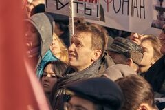 Russian opposition politician Alexei Navalny at a protest rally in Moscow