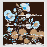Russian or oriental pattern. torn paper. blue floral background Stock Photography