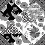 Russian ornament.seamless patchwork black and white pattern with Stock Photos