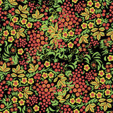 Russian ornament. Traditional seamless in hohloma style. Black floral background with berries, leaves, swirls. Royalty Free Stock Image