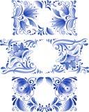 Russian ornaments art frames in gzhel style Stock Photo