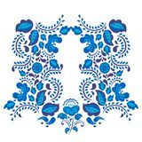 Russian ornaments art gzhel style painted with blue on white flower traditional folk bloom branch pattern vector Royalty Free Stock Image