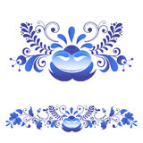 Russian ornaments art gzhel style painted with blue on white flower traditional folk bloom branch pattern vector vector illustration