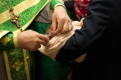 Russian Orthodox baptism. Temple of the Three Hierarchs, Ulyanov Royalty Free Stock Images