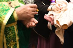 Russian Orthodox baptism. Temple of the Three Hierarchs, Ulyanov Royalty Free Stock Photo