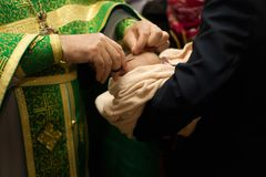 Russian Orthodox baptism. Temple of the Three Hierarchs, Ulyanov Royalty Free Stock Photography