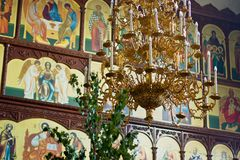 Russian Orthodox baptism. Temple of the Three Hierarchs, Ulyanov Stock Photography