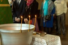 Russian Orthodox baptism. Temple of the Three Hierarchs, Ulyanov Stock Photo