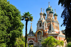 Russian Orthodox Cathedral. (Cathedrale Orthodoxe Saint-Nicolas) in Nice, France Royalty Free Stock Photo