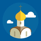 Russian Orthodox Cathedral Church flat illustration. Vector icon Royalty Free Stock Photography