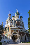 Russian Orthodox Cathedral in City of Nice, France. Russian Orthodox Cathedral Cathedrale Orthodoxe Saint-Nicolas in City of Nice, France Royalty Free Stock Photography