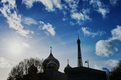 Russian orthodox cathedral and the Eiffel tower in Paris, France Royalty Free Stock Images