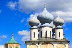 Russian orthodox cathedral. Russian orthodox monastery in Tikhvin, Russia Royalty Free Stock Photos