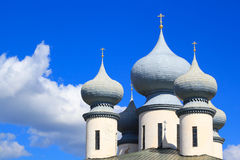 Russian orthodox cathedral. Russian orthodox monastery in Tikhvin, Russia Royalty Free Stock Images