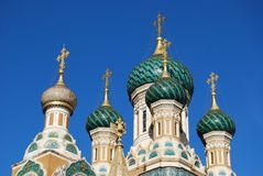 Russian Orthodox Cathedral, Nice, France. Top of Russian Orthodox Cathedral, Nice, France Stock Photos