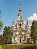Russian Orthodox cathedral in Panfilov Park, stock photo