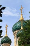 Russian Orthodox Cathedral towers, Nice, France. The St Nicholas Orthodox Cathedral, the largest Eastern Orthodox cathedral in Western Europe, is an Eastern Royalty Free Stock Photography
