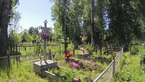 Russian Orthodox cemetery stock footage