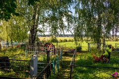 Russian Orthodox cemetery in Obolenskoe village stock photography