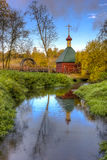 Russian Orthodox chapel on river near Sergiev Posad Stock Image