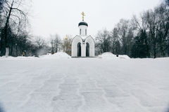 Russian Orthodox chapel winter Stock Images