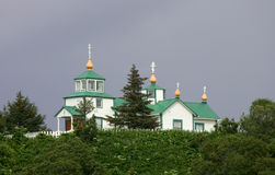 Russian Orthodox church. And cemetery in Ninilchik, Kenai Peninsula, Alaska royalty free stock image