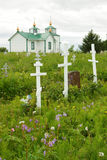 Russian Orthodox church. And cemetery in Ninilchik, Kenai Peninsula, Alaska stock image