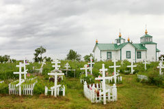 Russian Orthodox church. And cemetery in Ninilchik, Kenai Peninsula, Alaska stock images