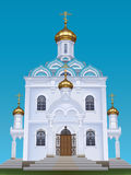Russian orthodox church. With typical golden onion domes Stock Photo