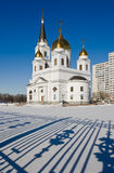 Russian orthodox church. The Orthodox church in Samara. Winter Royalty Free Stock Images