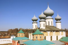 Russian Orthodox church against the blue sky. The onion-shaped domes of a russian orthodox church on a bright sunny day Stock Photo