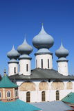 Russian Orthodox church against the blue sky. The onion-shaped domes of a russian orthodox church on a bright sunny day Royalty Free Stock Image
