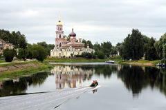 Russian orthodox church on the bank of a river. In Staraya Russa Royalty Free Stock Photos