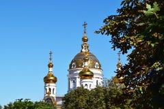 Russian Orthodox church. Beautiful architecture of the Russian Orthodox Church Park trees Stock Photography