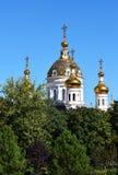 Russian Orthodox church. Beautiful architecture of the Russian Orthodox Church Park trees Stock Photos