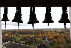 Russian Orthodox Church big  black bells Stock Photo