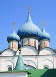 Russian Orthodox Church. With blue onion domes Royalty Free Stock Photography