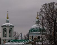 Russian orthodox church covered in snow Royalty Free Stock Images