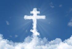 Russian Orthodox Church Cross Cloud in Sky vector illustration