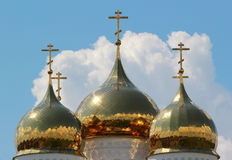 Russian Orthodox church - crosses atop the golden domes Stock Image