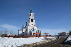 Russian Orthodox Church `Dormition of the Theotokos`. Russian Orthodox Church `Dormition of the Theotokos` was founded in 1833 year in Novoutkinsk township Stock Photography