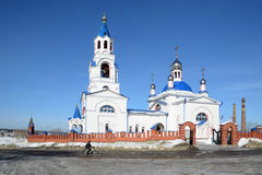 Russian Orthodox Church `Dormition of the Theotokos`. Russian Orthodox Church `Dormition of the Theotokos` was founded in 1833 year in Novoutkinsk township Stock Image