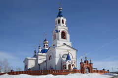 Russian Orthodox Church `Dormition of the Theotokos`. Russian Orthodox Church `Dormition of the Theotokos` was founded in 1833 year in Novoutkinsk township Stock Photos