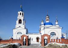 Russian Orthodox Church `Dormition of the Theotokos`. Russian Orthodox Church `Dormition of the Theotokos` was founded in 1833 year in Novoutkinsk township Royalty Free Stock Image